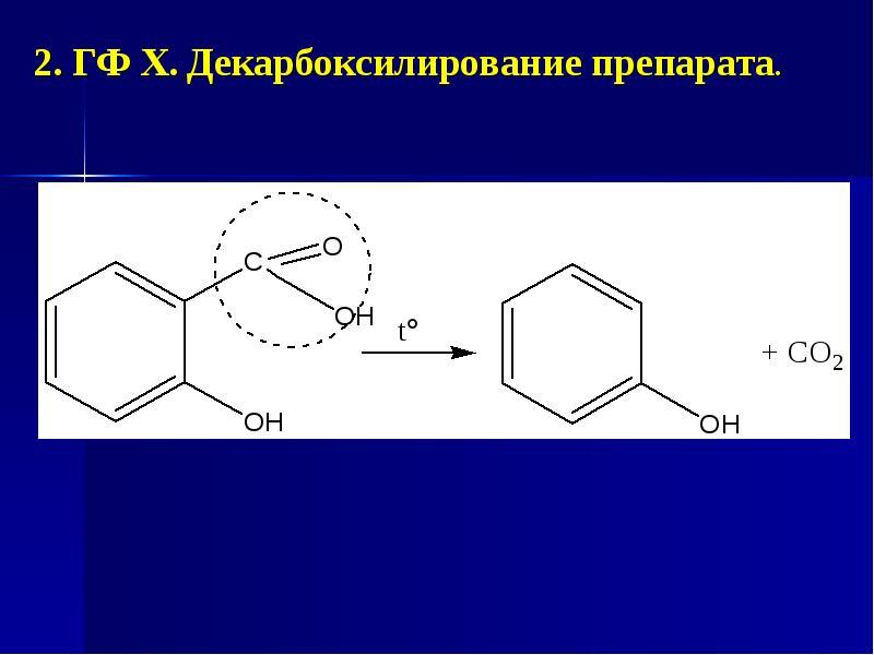 2. ГФ Х. Декарбоксилирование препарата. 2. ГФ Х. Декарбоксилирование препарата.