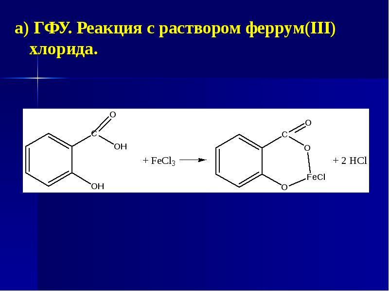 а) ГФУ. Реакция с раствором феррум(ІІІ) хлорида. а) ГФУ. Реакция с раствором феррум(ІІІ) хлорида.