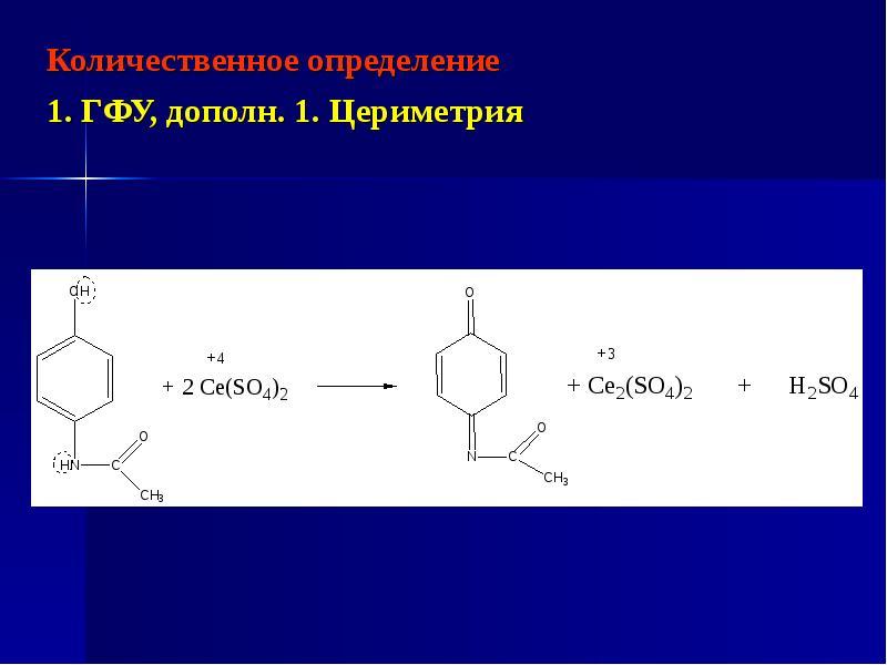 Количественное определение Количественное определение 1. ГФУ, дополн. 1. Цериметрия