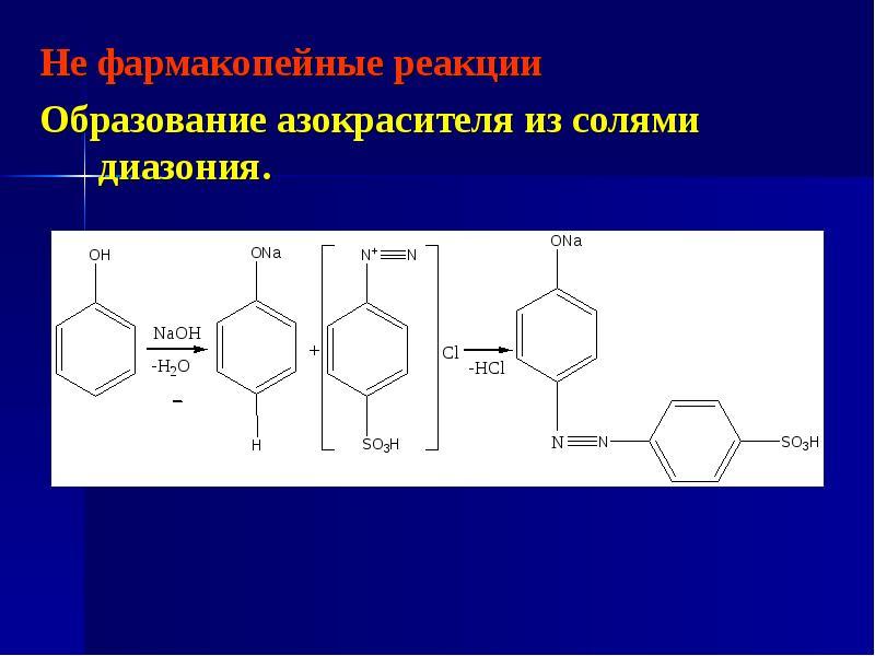 Не фармакопейные реакции Не фармакопейные реакции Образование азокрасителя из солями диазония.