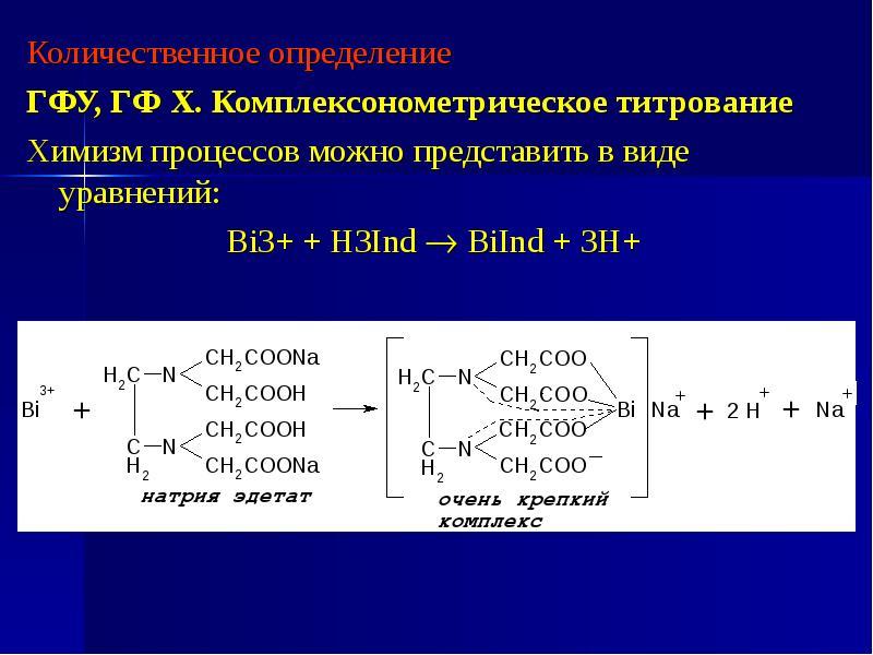 Количественное определение Количественное определение ГФУ, ГФ Х. Комплексонометрическое титрование Х