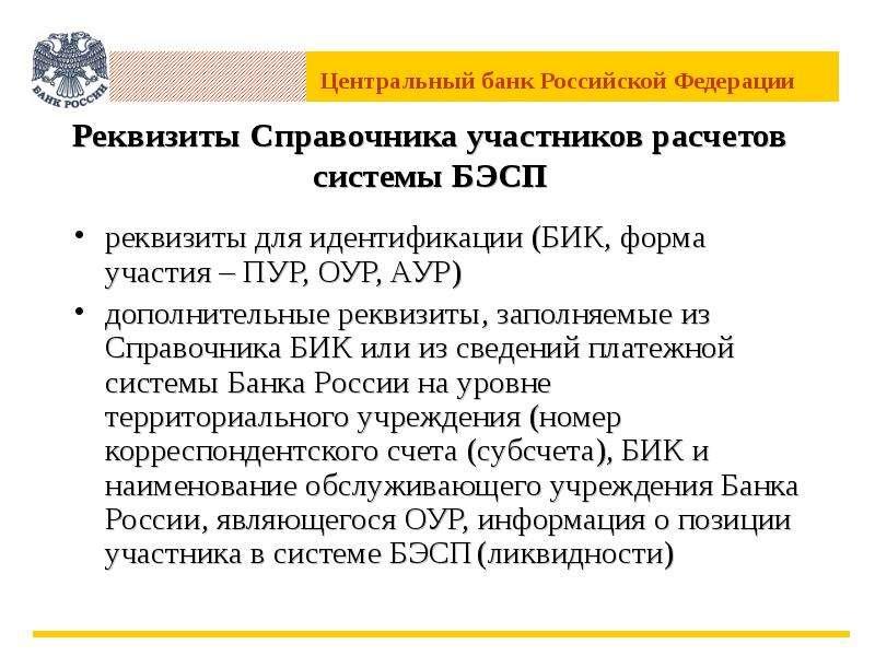 Реквизиты Справочника участников расчетов системы БЭСП реквизиты для идентификации (БИК, форма участ