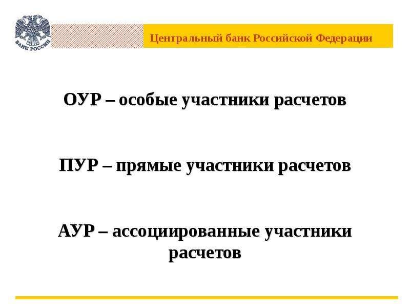 ОУР – особые участники расчетов ПУР – прямые участники расчетов АУР – ассоциированные участники расч