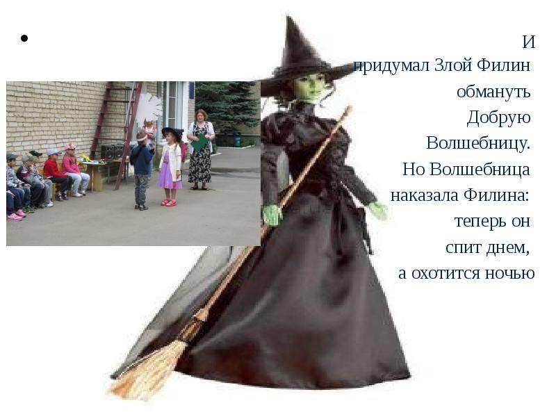 И придумал Злой Филин И придумал Злой Филин обмануть Добрую Волшебницу. Но Волшебница наказала Филин