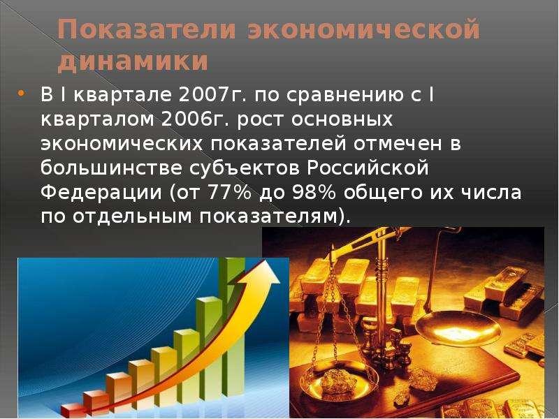 Показатели экономической динамики В I квартале 2007г. по сравнению с I кварталом 2006г. рост основны