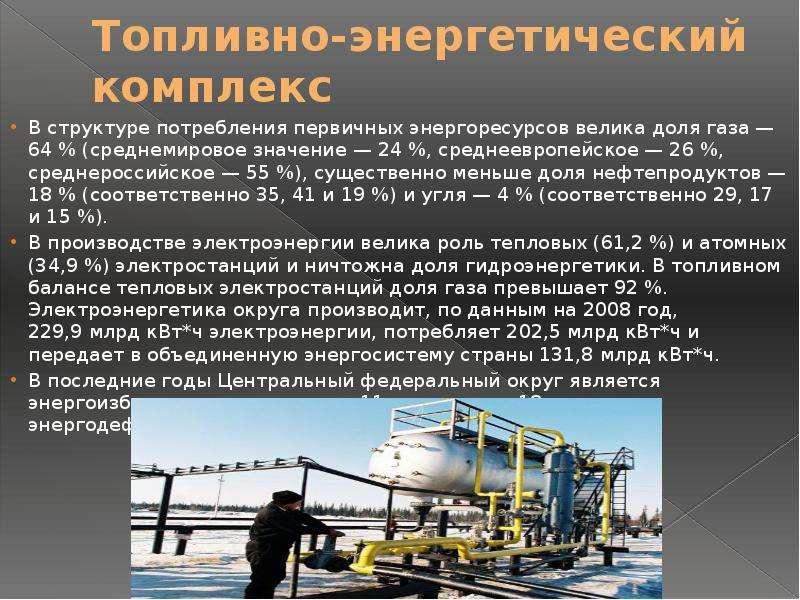 Топливно-энергетический комплекс В структуре потребления первичных энергоресурсов велика доля газа —