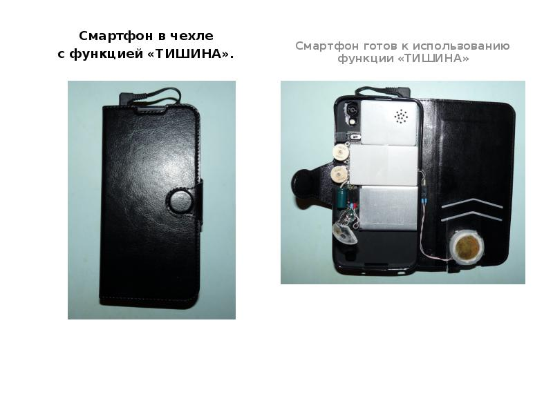 Смартфон в чехле с функцией «ТИШИНА».