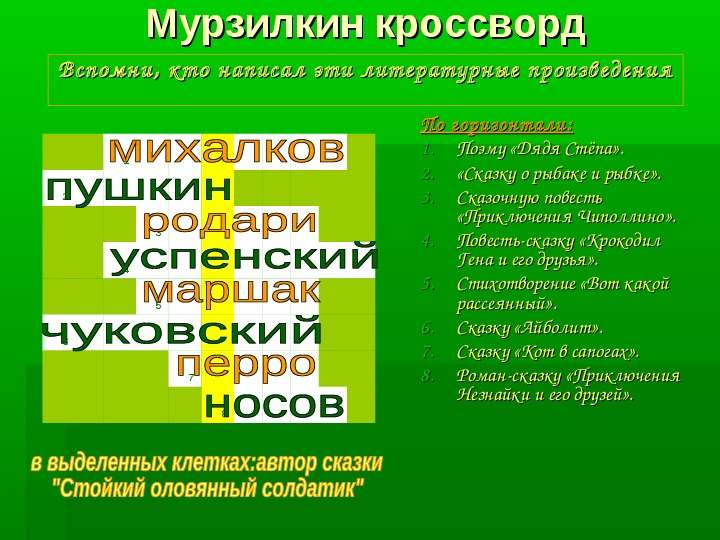 Мурзилкин кроссворд Вспомни, кто написал эти литературные произведения