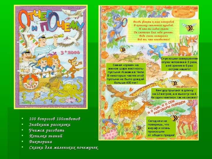 100 вопросов 100ответов 100 вопросов 100ответов Знайкины рассказки Учимся рисовать Копилка знаний Ви