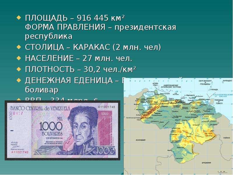 ПЛОЩАДЬ – 916 445 км² ФОРМА ПРАВЛЕНИЯ – президентская республика ПЛОЩАДЬ – 916 445 км² ФОРМА ПРАВЛЕН
