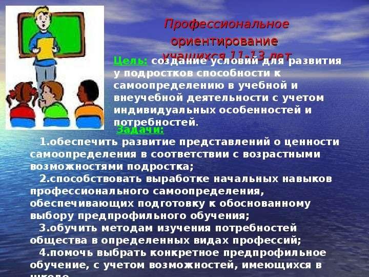 Профессиональное ориентирование учащихся 11-13 лет