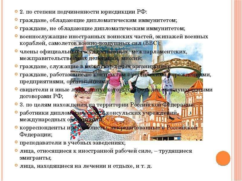 2. по степени подчиненности юрисдикции РФ: 2. по степени подчиненности юрисдикции РФ: граждане, обла