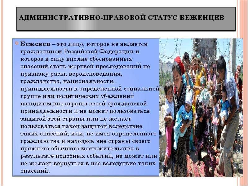 Беженец – это лицо, которое не является гражданином Российской Федерации и которое в силу вполне обо