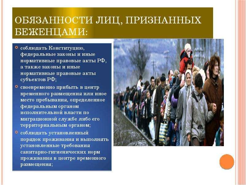 Обязанности лиц, признанных беженцами: соблюдать Конституцию, федеральные законы и иные нормативные
