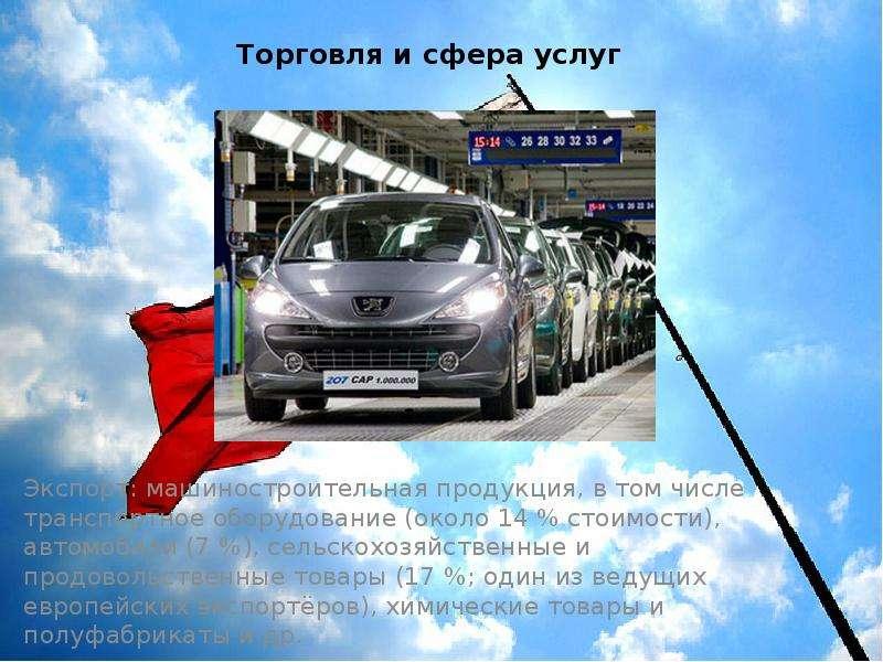 Торговля и сфера услуг Экспорт: машиностроительная продукция, в том числе транспортное оборудование