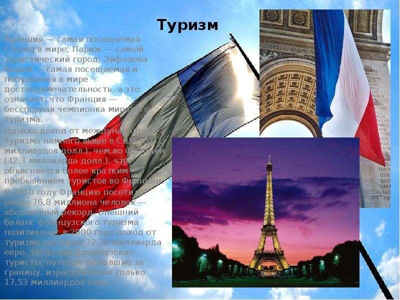 Туризм Франция — самая посещаемая страна в мире; Париж — самый туристический город; Эйфелева башня —