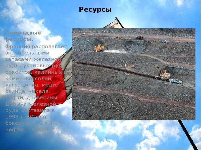 Ресурсы Природные ресурсы. Франция располагает значительными запасами железной руды, урановых руд, б