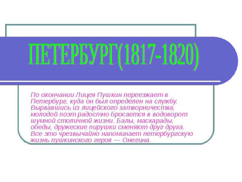 Презентация . По окончании Лицея Пушкин переезжает в Петербург, куда он был определен на службу. Вырвавшись из лицейского затворничества, моло