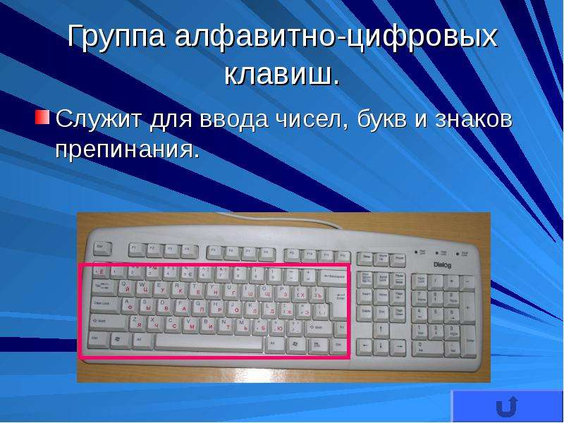Эти клавиши включают те же клавиши с буквами, цифрами, знаками препинания и символами, что