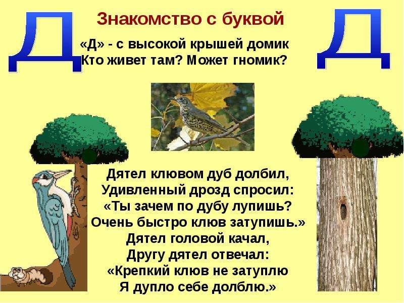 """Буква Д"" - презентации по Русскому языку"