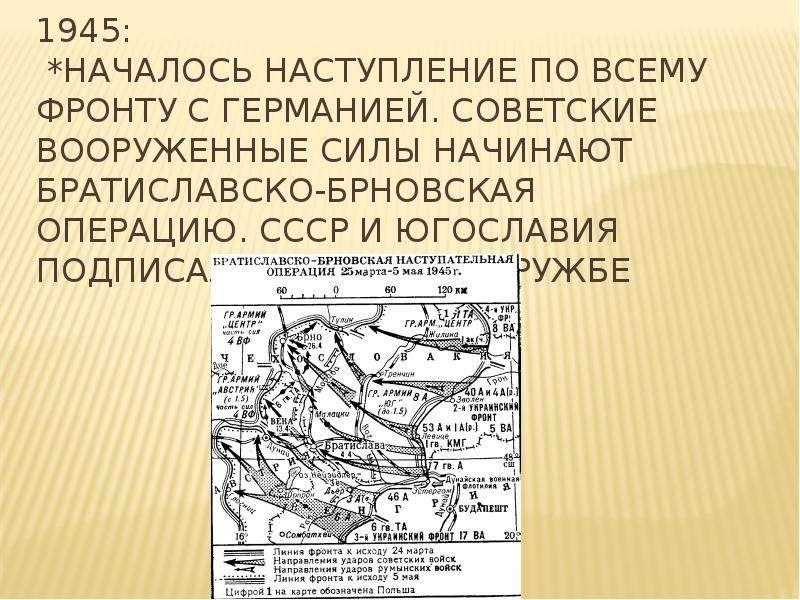 1945: *Началось наступление по всему фронту с Германией. Советские вооруженные силы начинают Братисл