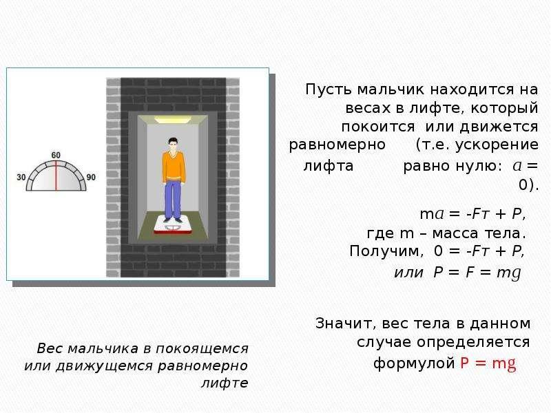 Вес мальчика в покоящемся или движущемся равномерно лифте Вес мальчика в покоящемся или движущемся р