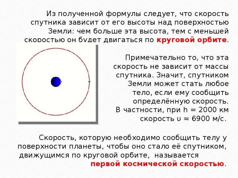 Из полученной формулы следует, что скорость спутника зависит от его высоты над поверхностью Земли: ч