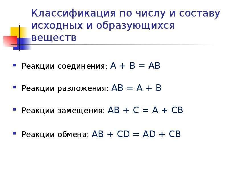 Классификация по числу и составу исходных и образующихся веществ Реакции соединения: А + В = АВ Реак