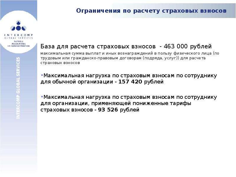 Ограничения по расчету страховых взносов База для расчета страховых взносов - 463 000 рублей максима