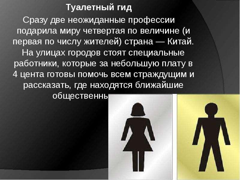 Туалетный гид Сразу две неожиданные профессии подарила миру четвертая по величине (и первая по числу