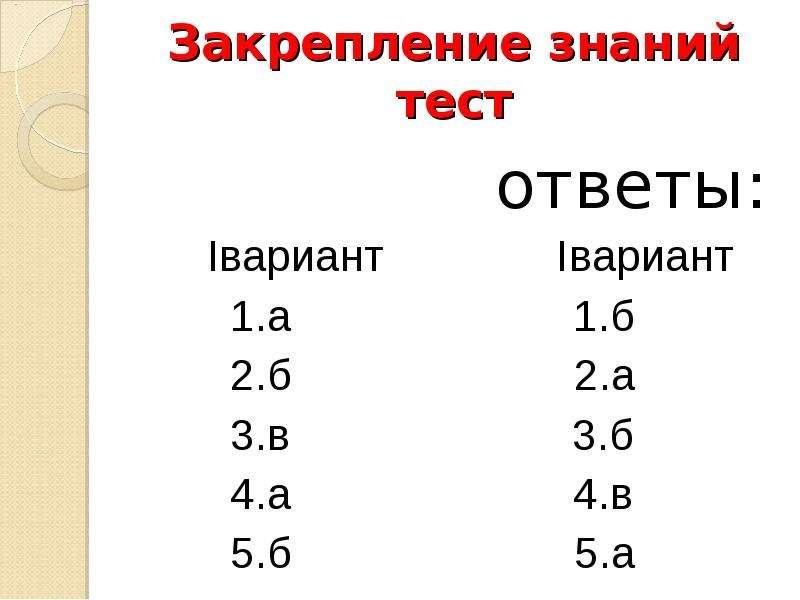 Закрепление знаний тест ответы: Iвариант Iвариант 1. а 1. б 2. б 2. а 3. в 3. б 4. а 4. в 5. б 5. а