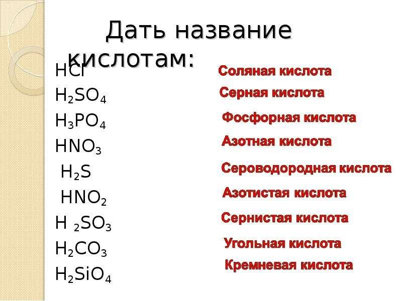 Дать название кислотам: HCI H2SO4 H3PO4 HNO3 H2S НNO2 H 2SO3 H2CO3 Н2SiO4
