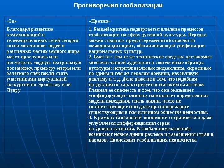 1) основополагающих процессов (глобализация, информатизация и эволюция ниокр) и 2) производных данных процессов в