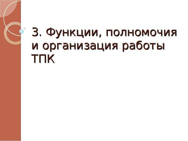 3. Функции, полномочия и организация работы ТПК