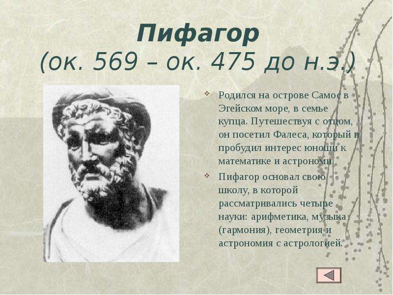 Доклад на тему великие математики пифагор 1575