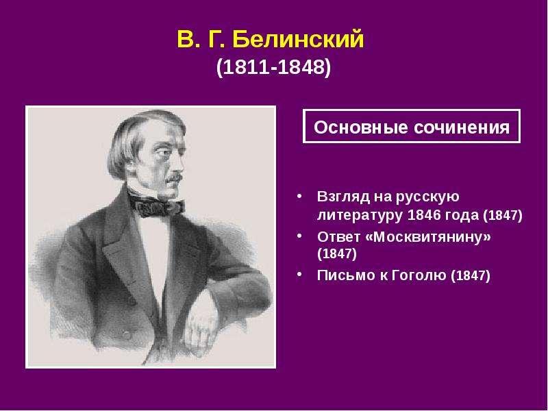 В. Г. Белинский (1811‑1848) Взгляд на русскую литературу 1846 года (1847) Ответ «Москвитянину» (1847