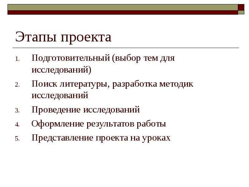 Этапы проекта Подготовительный (выбор тем для исследований) Поиск литературы, разработка методик исс