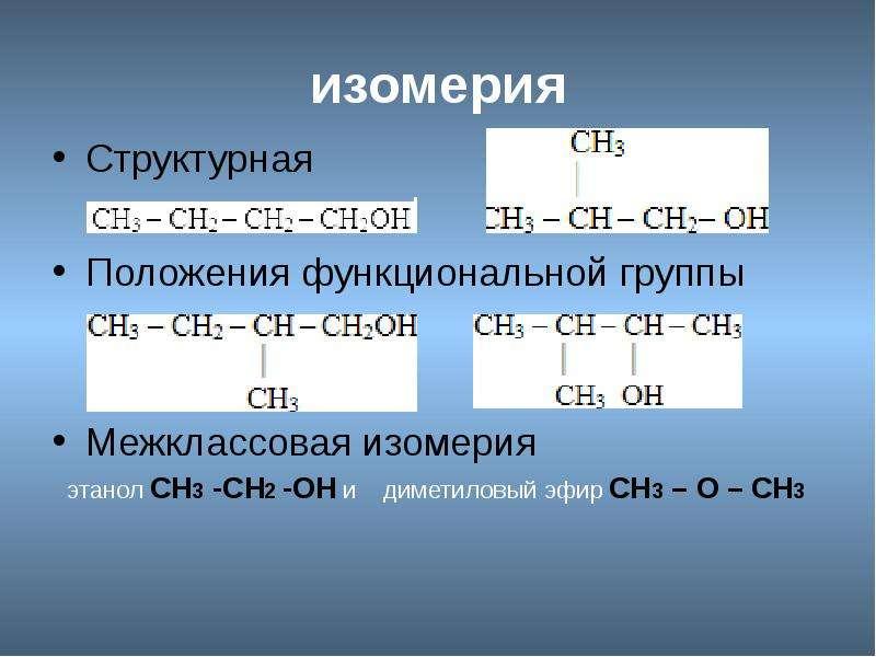 изомерия Структурная Положения функциональной группы Межклассовая изомерия
