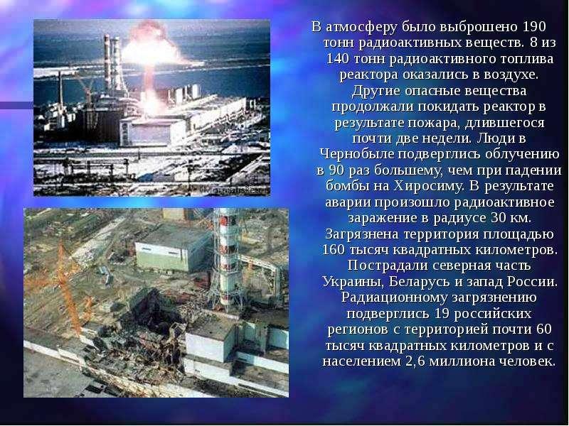 В атмосферу было выброшено 190 тонн радиоактивных веществ. 8 из 140 тонн радиоактивного топлива реак