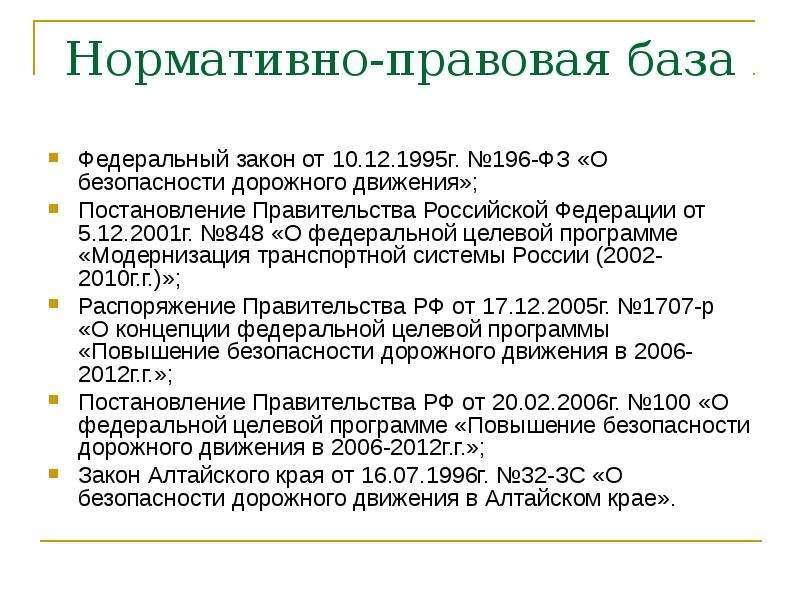 Нормативно-правовая база Федеральный закон от 10. 12. 1995г. №196-ФЗ «О безопасности дорожного движе