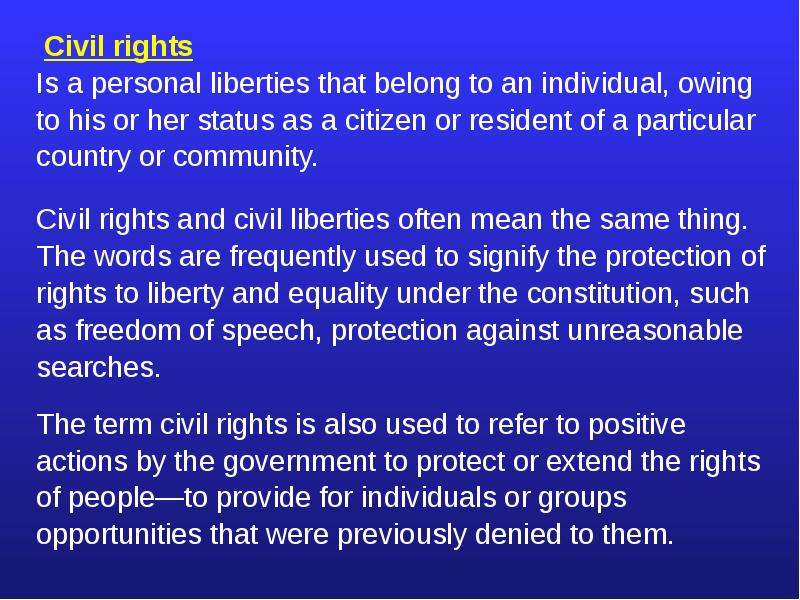 civil right and civil liberties Civil liberties vs civil rights civil liberties-freedoms-bill of rights-protection from gov-rights of extended the right to vote to women in federal or.