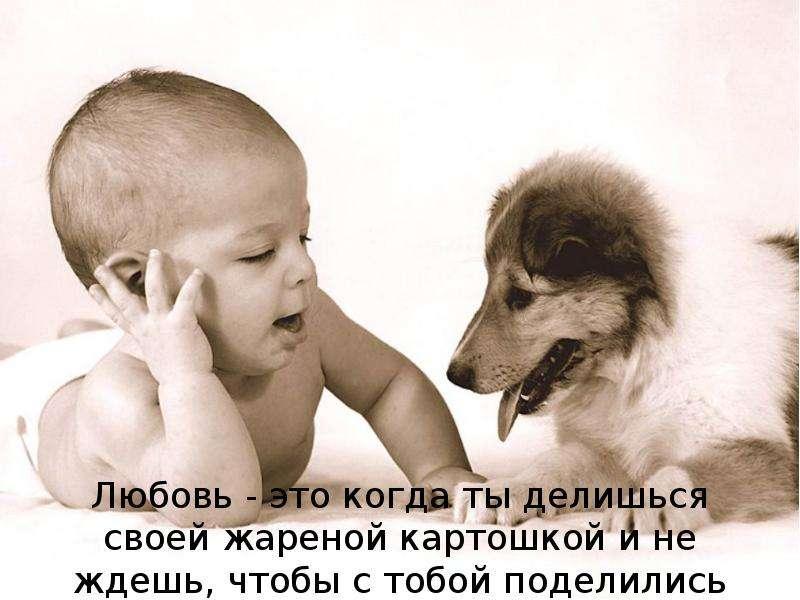 Любовь - это когда ты делишься своей жареной картошкой и не ждешь, чтобы с тобой поделились тоже.