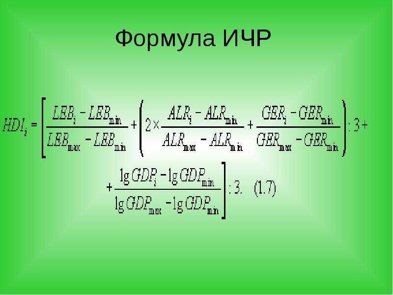 Формула ИЧР