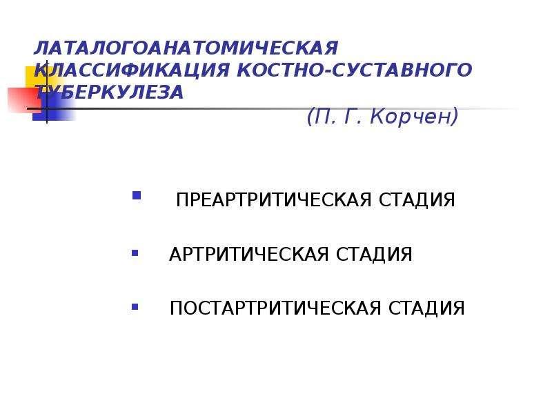 Хирургия.костно-суставной туберкулез классификация, патогенез, лечение препараты суставной жидкости