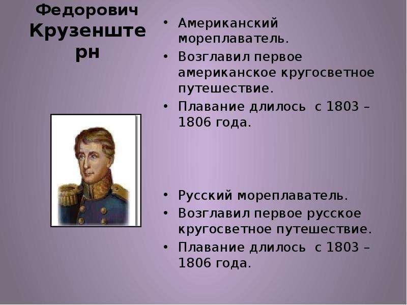Иван Федорович Крузенштерн Американский мореплаватель. Возглавил первое американское кругосветное пу