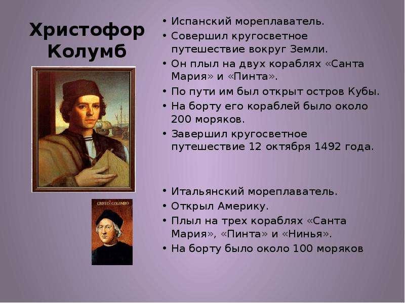 Христофор Колумб Испанский мореплаватель. Совершил кругосветное путешествие вокруг Земли. Он плыл на