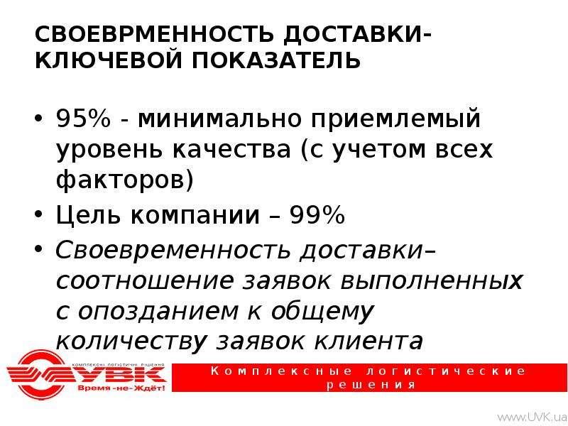 СВОЕВРМЕННОСТЬ ДОСТАВКИ-КЛЮЧЕВОЙ ПОКАЗАТЕЛЬ 95% - минимально приемлемый уровень качества (с учетом в