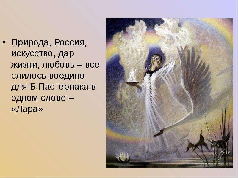 Природа, Россия, искусство, дар жизни, любовь – все слилось воедино для Б. Пастернака в одном слове