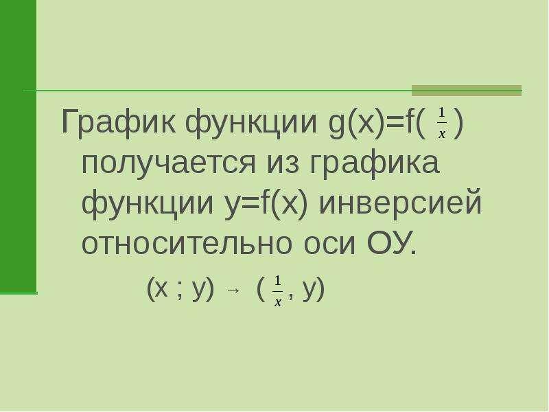 График функции g(x)=f( ) получается из графика функции y=f(x) инверсией относительно оси ОУ.