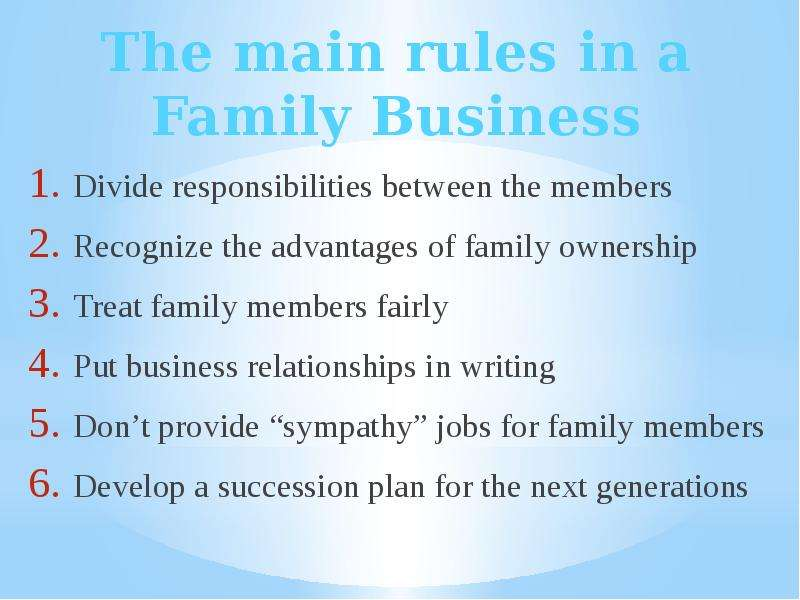 the advantages of family businesses Advantages and disadvantages of family-run businesses if you start or join a family business, as a family member you're likely to benefit from a range of advantages which you often don't find in other enterprises.